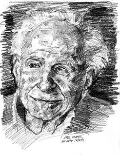 Een schets van Karl Popper door Arturo Espinosa