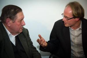 Etienne Vermeersch in discussie met Patrick Loobuyck (foto: Gerbrich Reynaert)