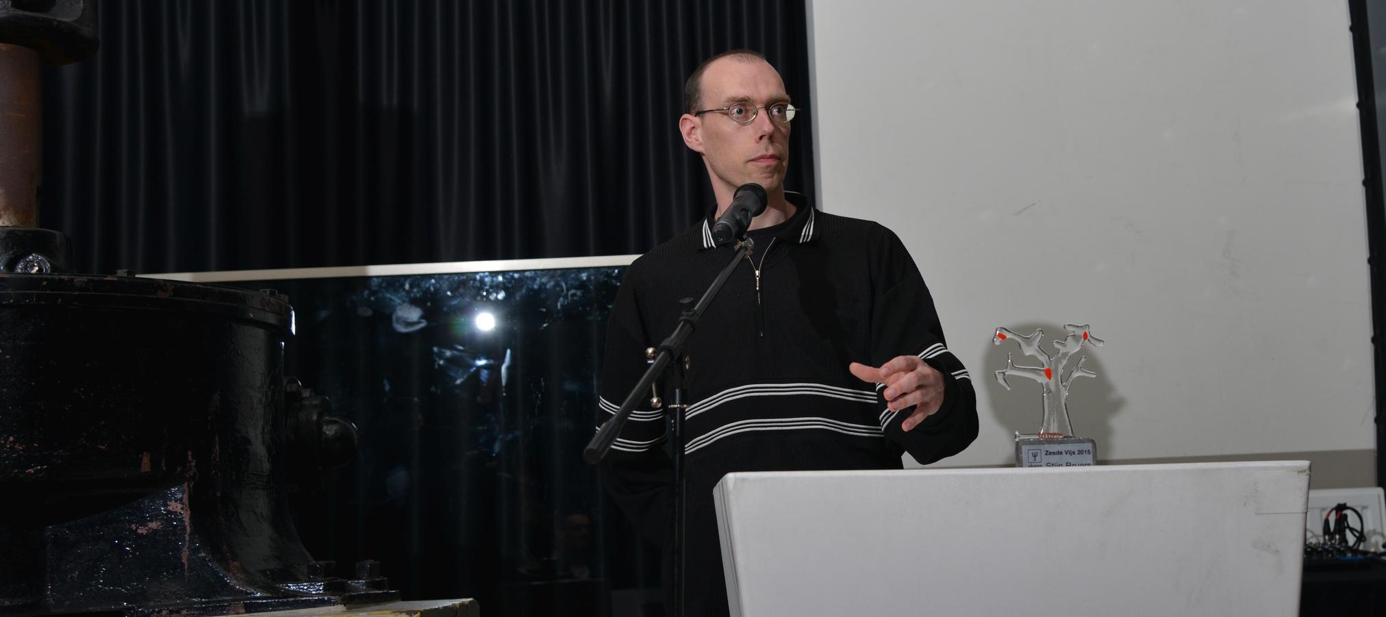 Stijn Breurs bij de uitreiking van de zesde vijs 2015