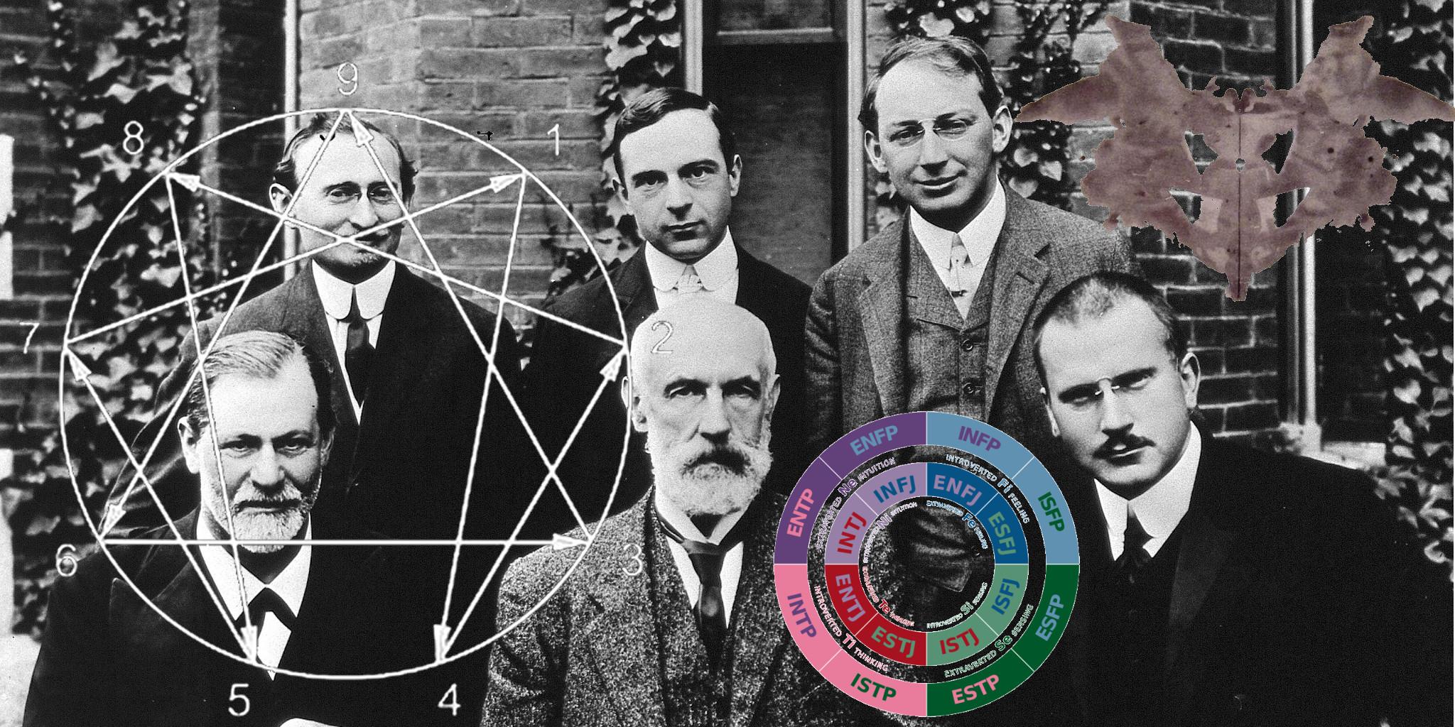 De grondleggers van de psychoanalyse met de rohrschachtest, het eneagram en MBTI
