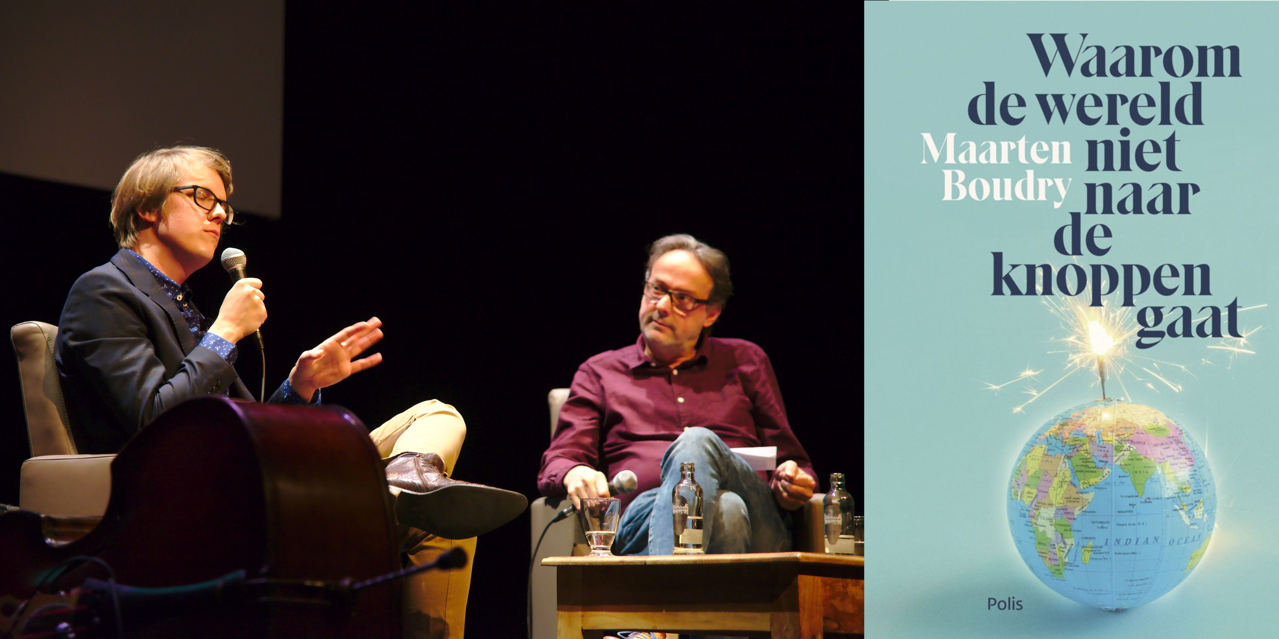 """Maarten Boudry wordt geïnterviewd door Marnix Verplancke in de Minrard bij zijn boekvoorstelling """"Waarom de wereld niet naar de knoppen gaat"""" (Foto: Jozef Van Giel)"""