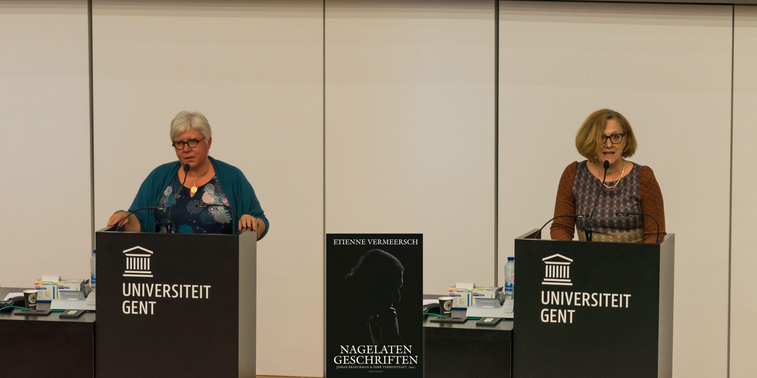 Mieke Van Herreweghe en Gita Deneckere, eren Etienne Vermeersch