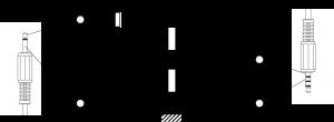 Verbinding van Aux naar Mic via een ontkoppelcondensator