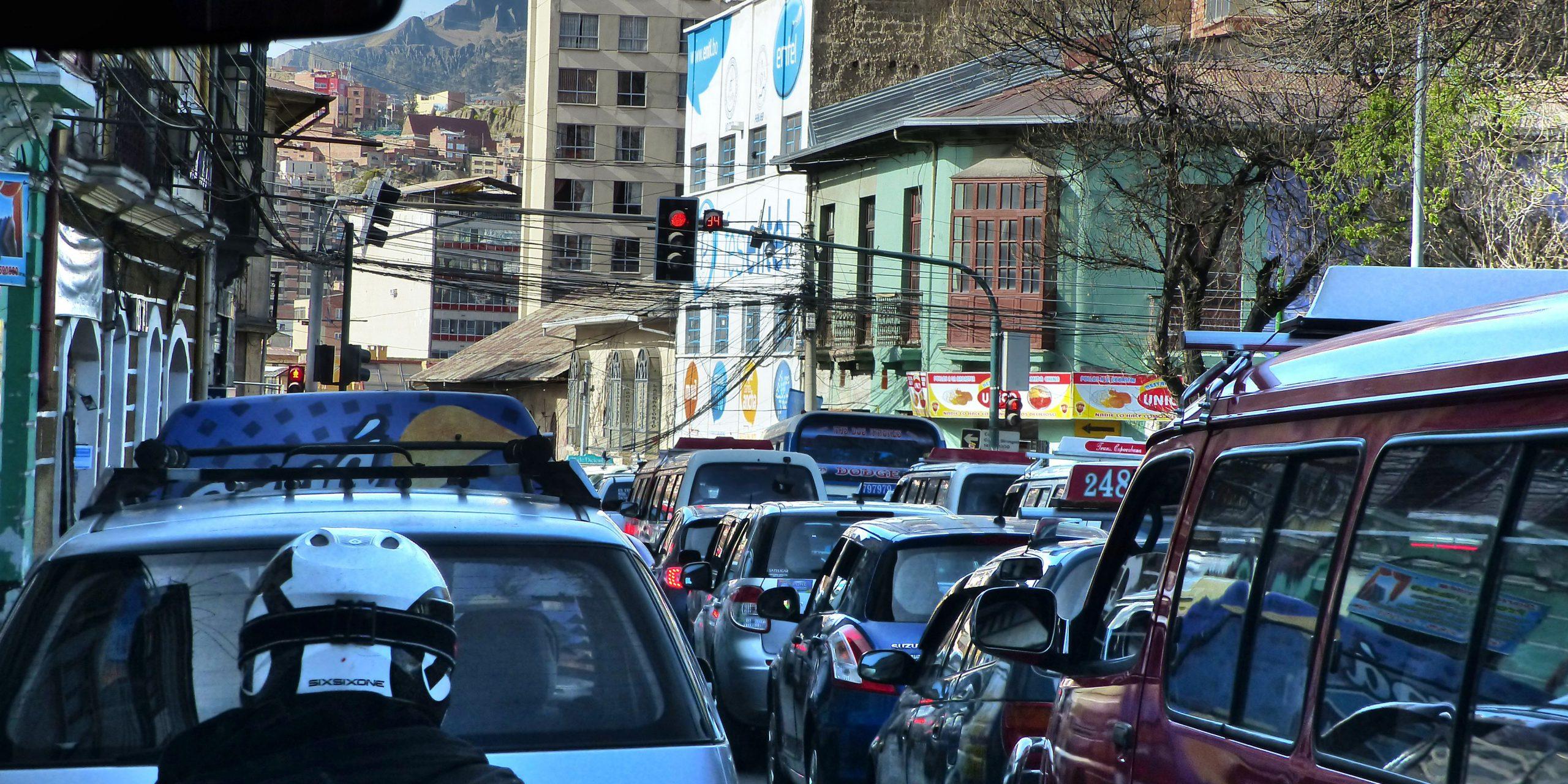 Verkeerschaos in La Paz - Bolivië