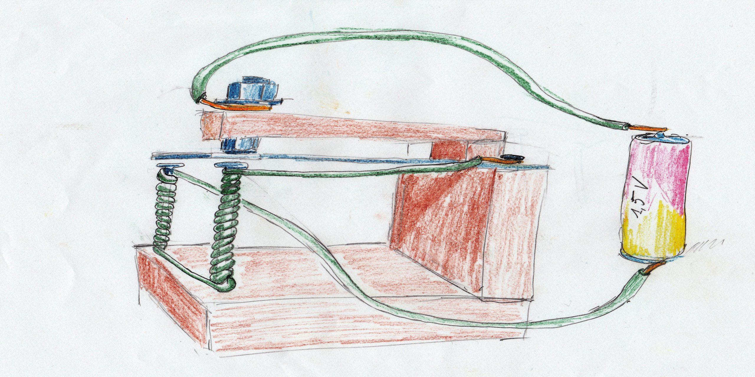 Een bel gemaakt met wat planken, geïsoleerde draad, nagels, een plaatje en bouten (tekening: Jozef Van Giel)