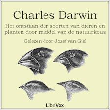 Voorkant van het boek: Het Ontstaan Der Soorten, door Charles Darwin. Het luisterboek.